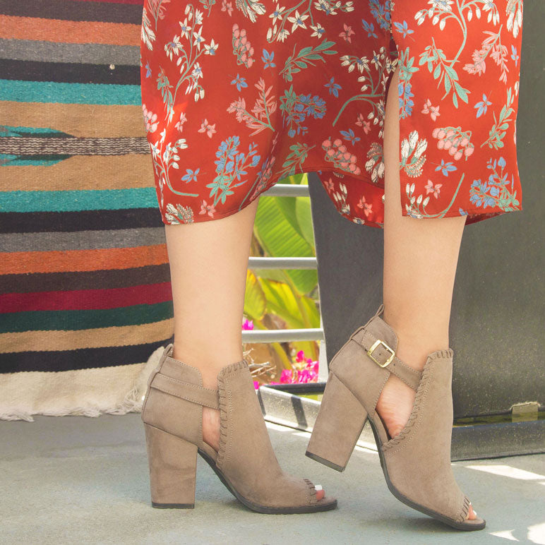 Shoes Lost-43X Taupe Peep Toe Bootie