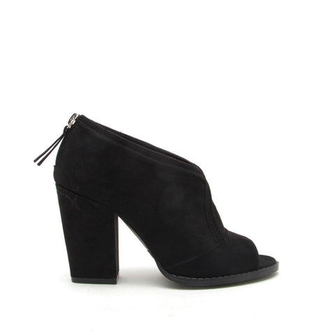 Lost-47 Black Peep Toe Bootie