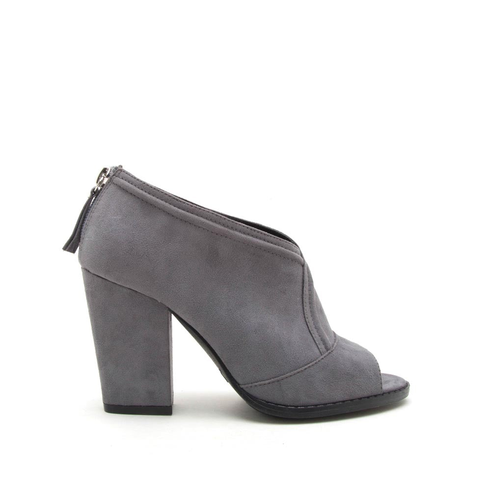 Lost-47 Steel Grey Peep Toe Bootie