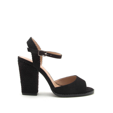 Lost-55AX Black Braided Heels
