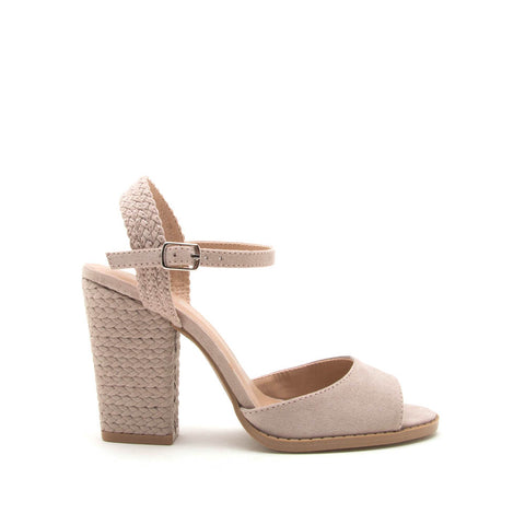 Lost-55AX Taupe Braided Heels