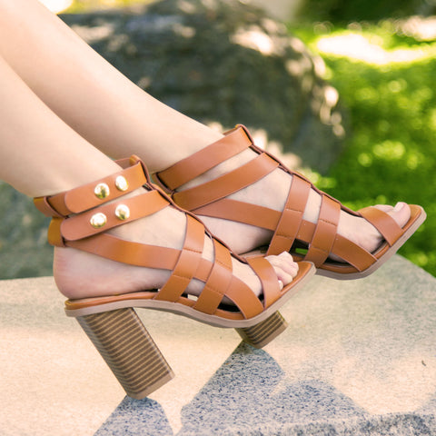 Luciana-07X Cognac Strappy Caged Sandal