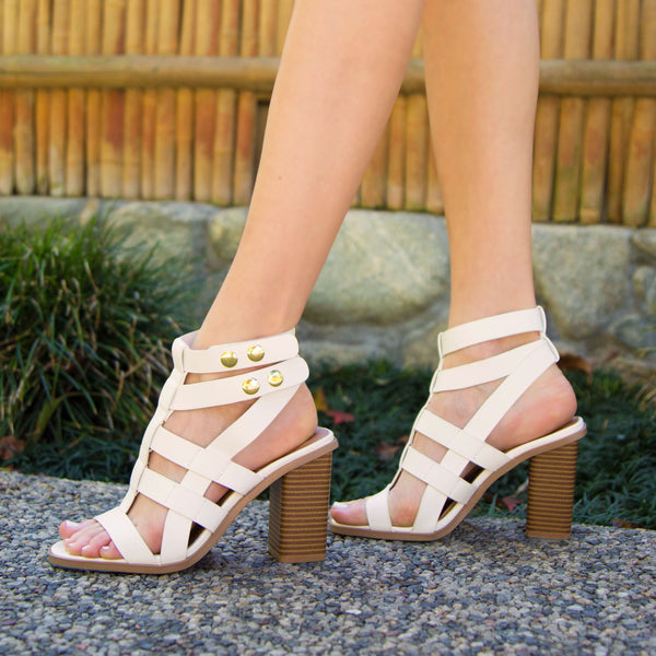 Luciana-07X White Strappy Caged Sandal