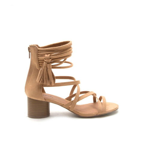 LUCILLE-03 Toffee Strappy Sandal Tassel Detail