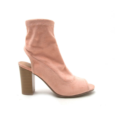 LUCITE-108AX Soft Blush Peep Toe Sock Booties