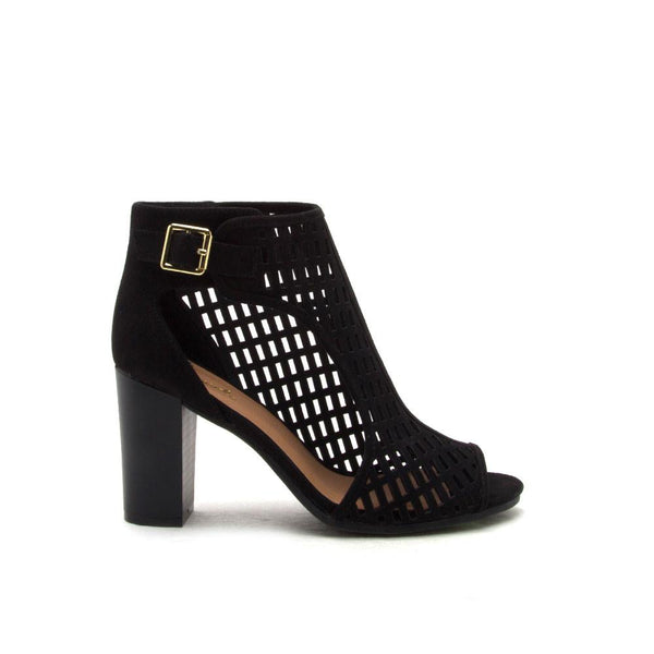 Lucite-134A Black Cut Out Peep Toe Bootie
