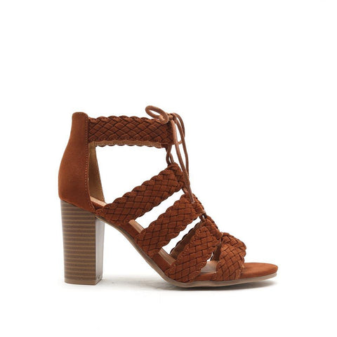 LUCITE-84A Dark Rust Braided Suede Stacked Heel