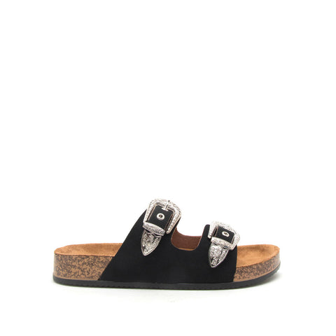 Luka-01 Black Two Buckle Bands Sandal