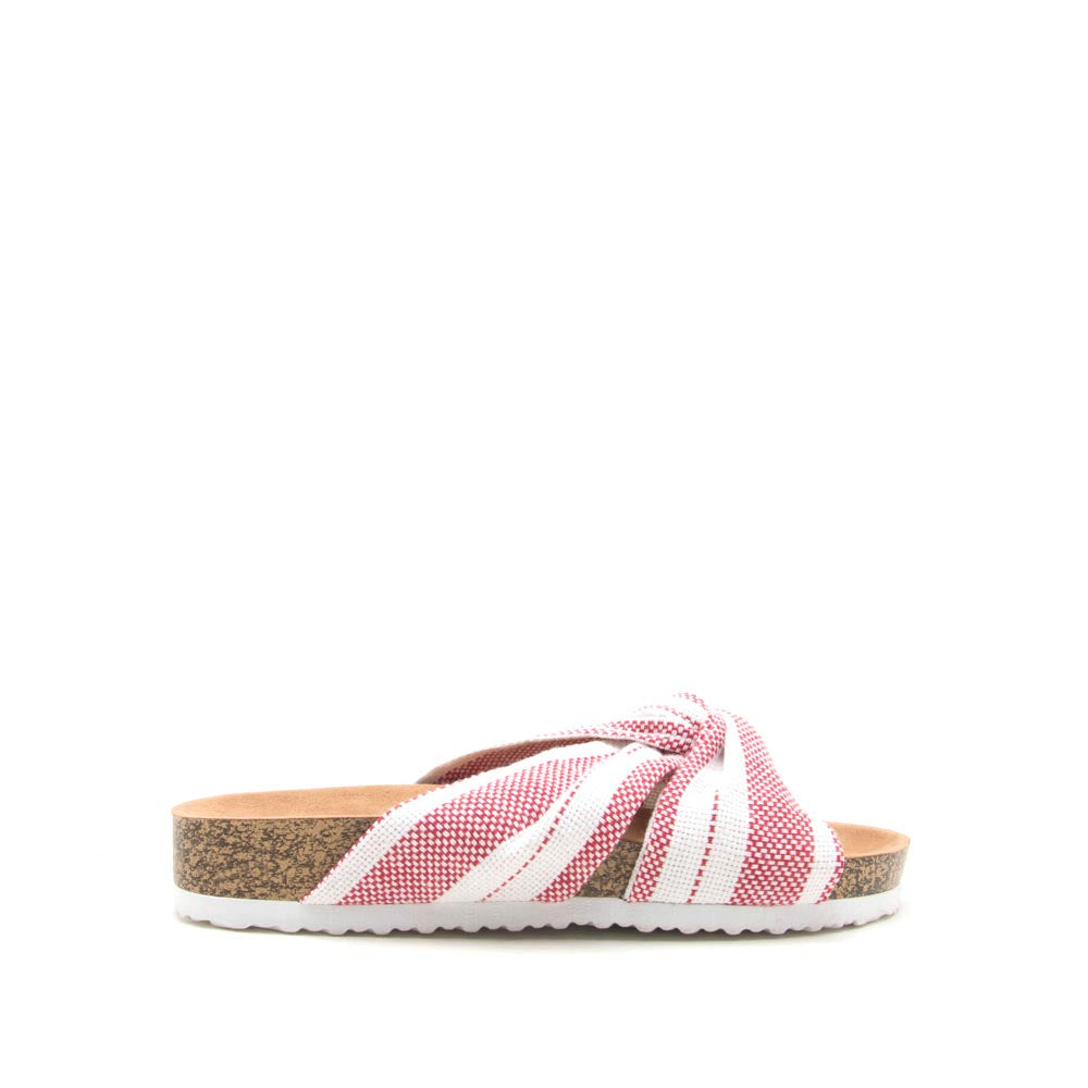 Luka-03A Red White Knotted Sandals