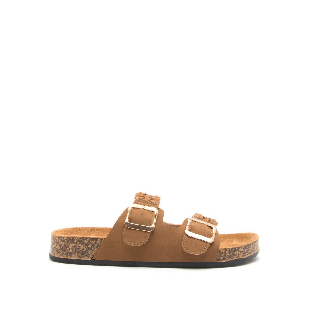 Luka-04 Camel Braided Buckled Sandals