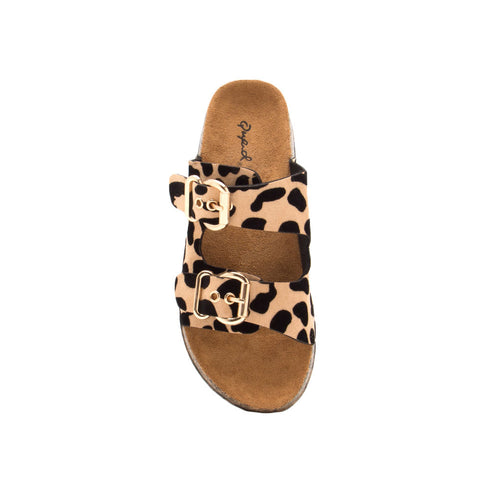 Luka-06 Tan Black Leopard Double Band Sandals