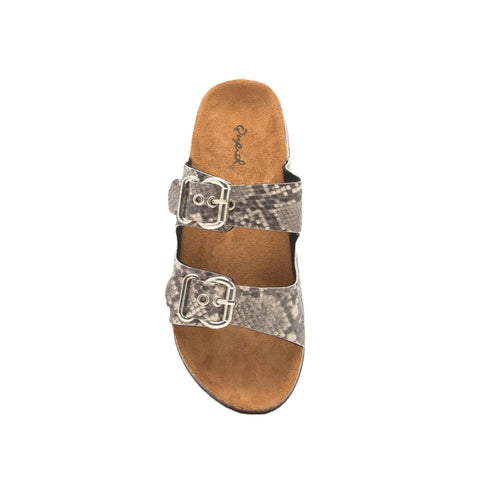 Luka-06 Taupe Black Snake Double Band Sandals