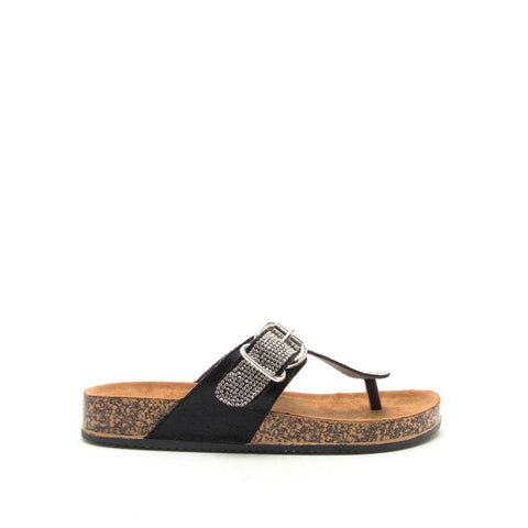 Luka-07A Black Metallic Embellished Sandals