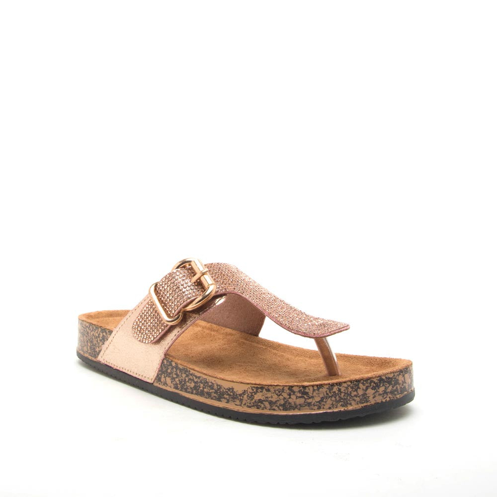 Luka-07A Rose Gold Metallic Embellished Sandals