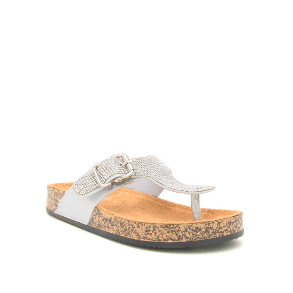 Luka-07A Silver Metallic Embellished Sandals