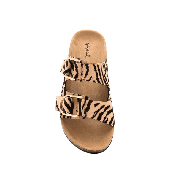 Luka-15 Tan Black Tiger Double Band Slides