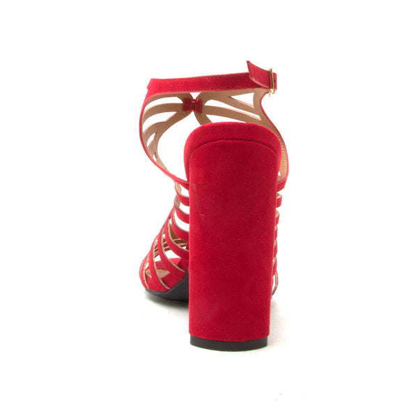 LYRA-02 Red Cut Out Caged Sandal