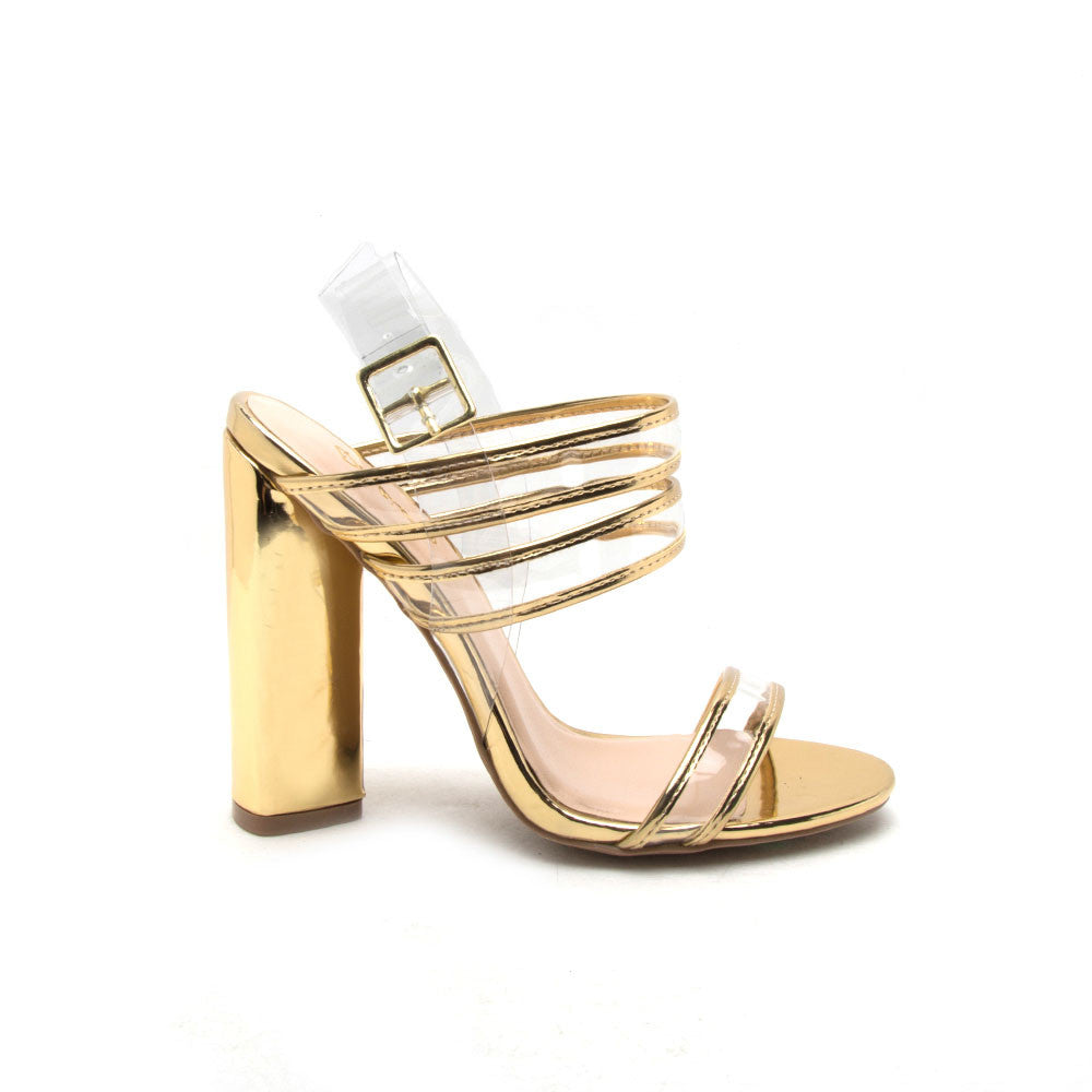 Lyra-06 Gold Clear Metallic Strappy Sandal