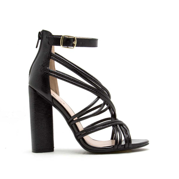 Lyra-63 Black Metallic Lizard Strappy Heel