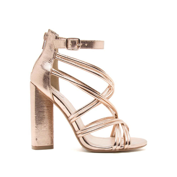 Lyra-63 Rose Gold Metallic Lizard Strappy Heel