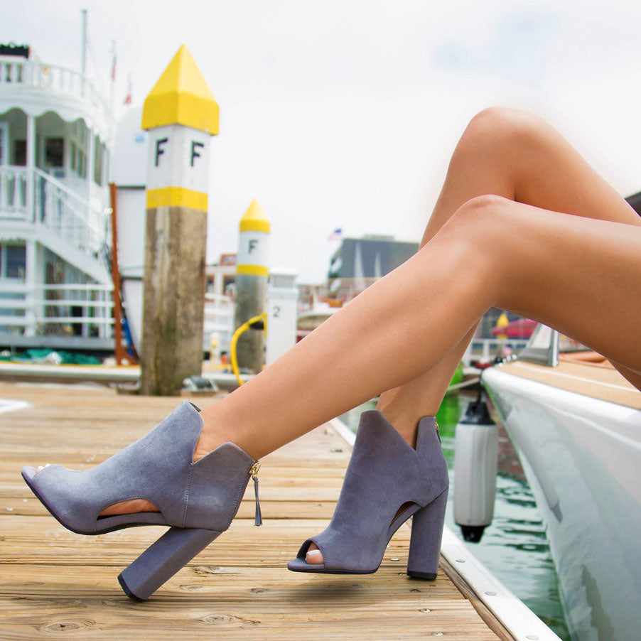 Lyra-98A Steel Grey Peep Toe Bootie