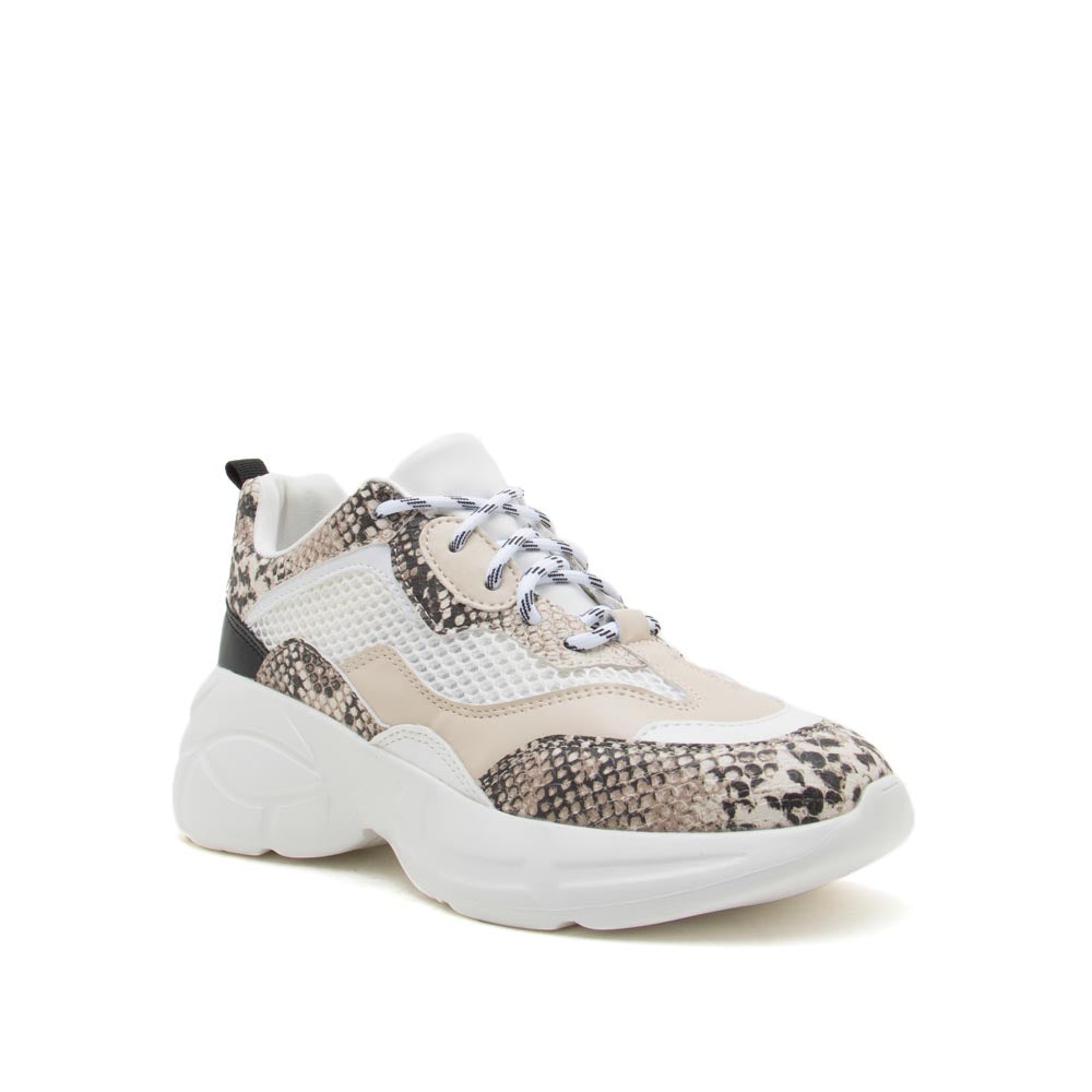 Macha-06 Beige Brown Snake Lace Up Sneakers