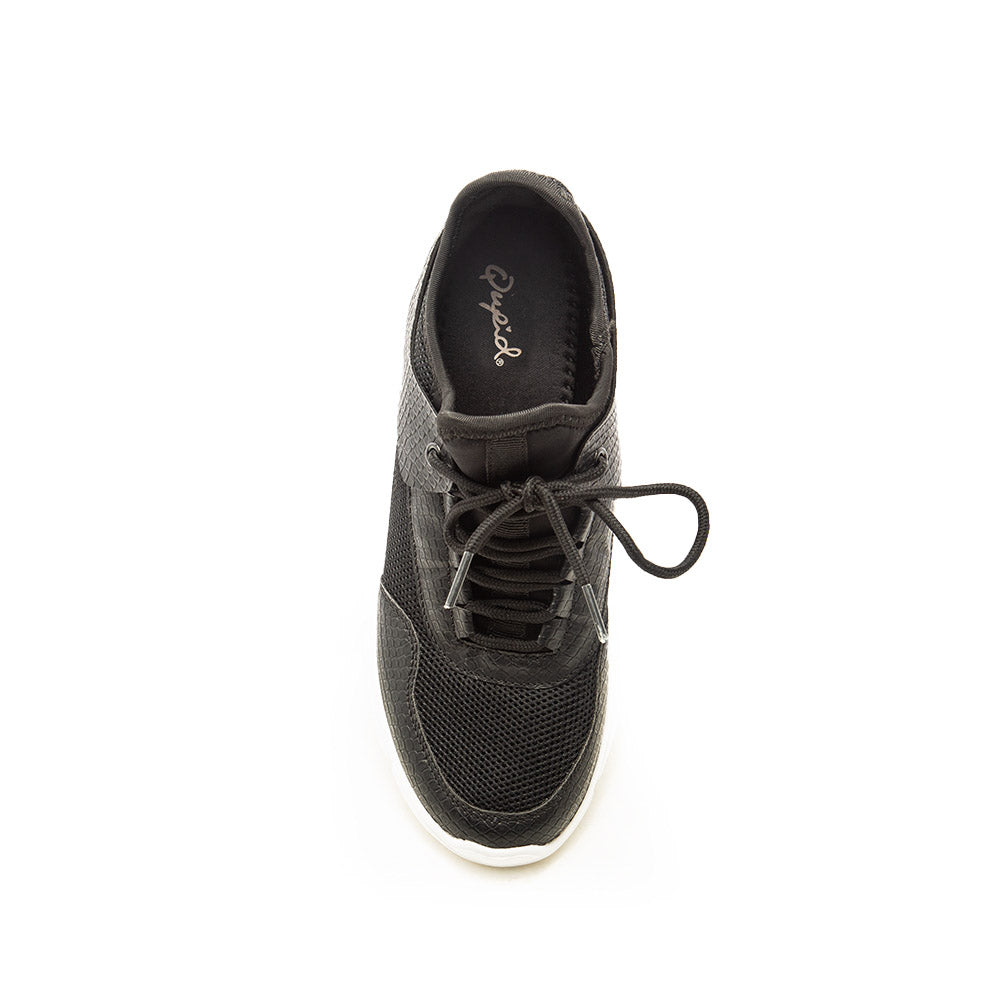 Makala-03 Black Mesh Lace Up Sneakers