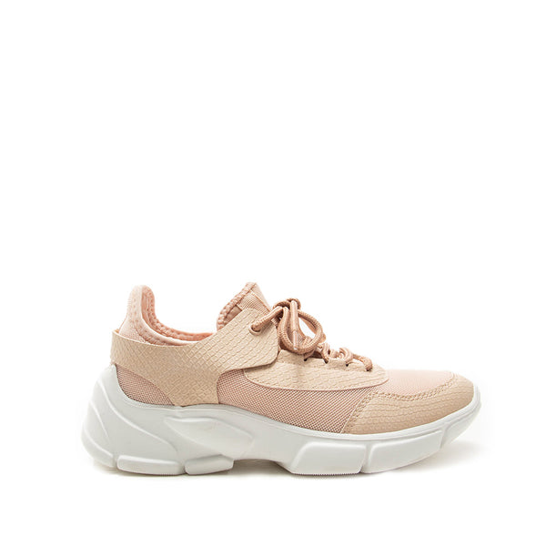 Makala-03 Nude Mesh Lace Up Sneakers