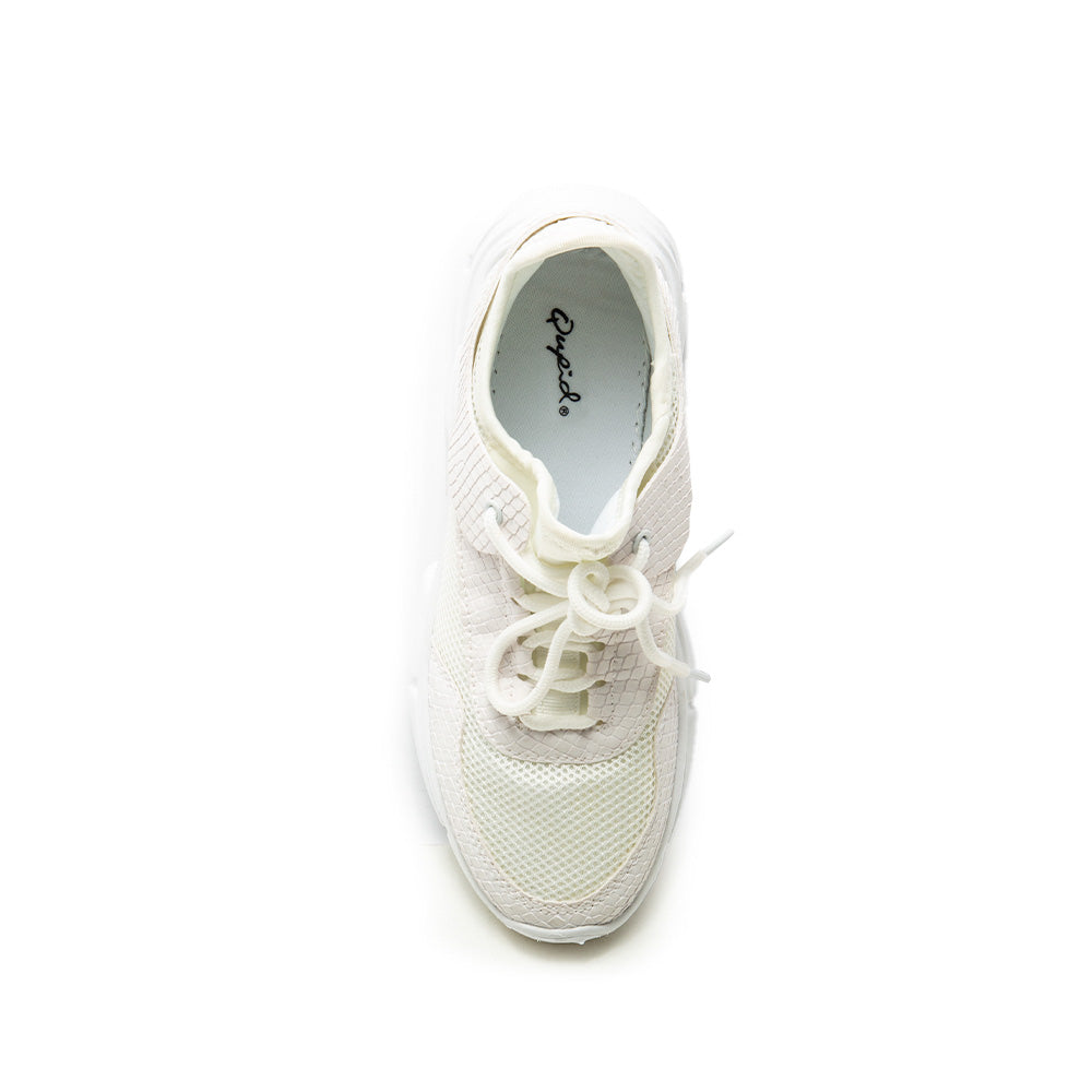 Makala-03 White Mesh Lace Up Sneakers