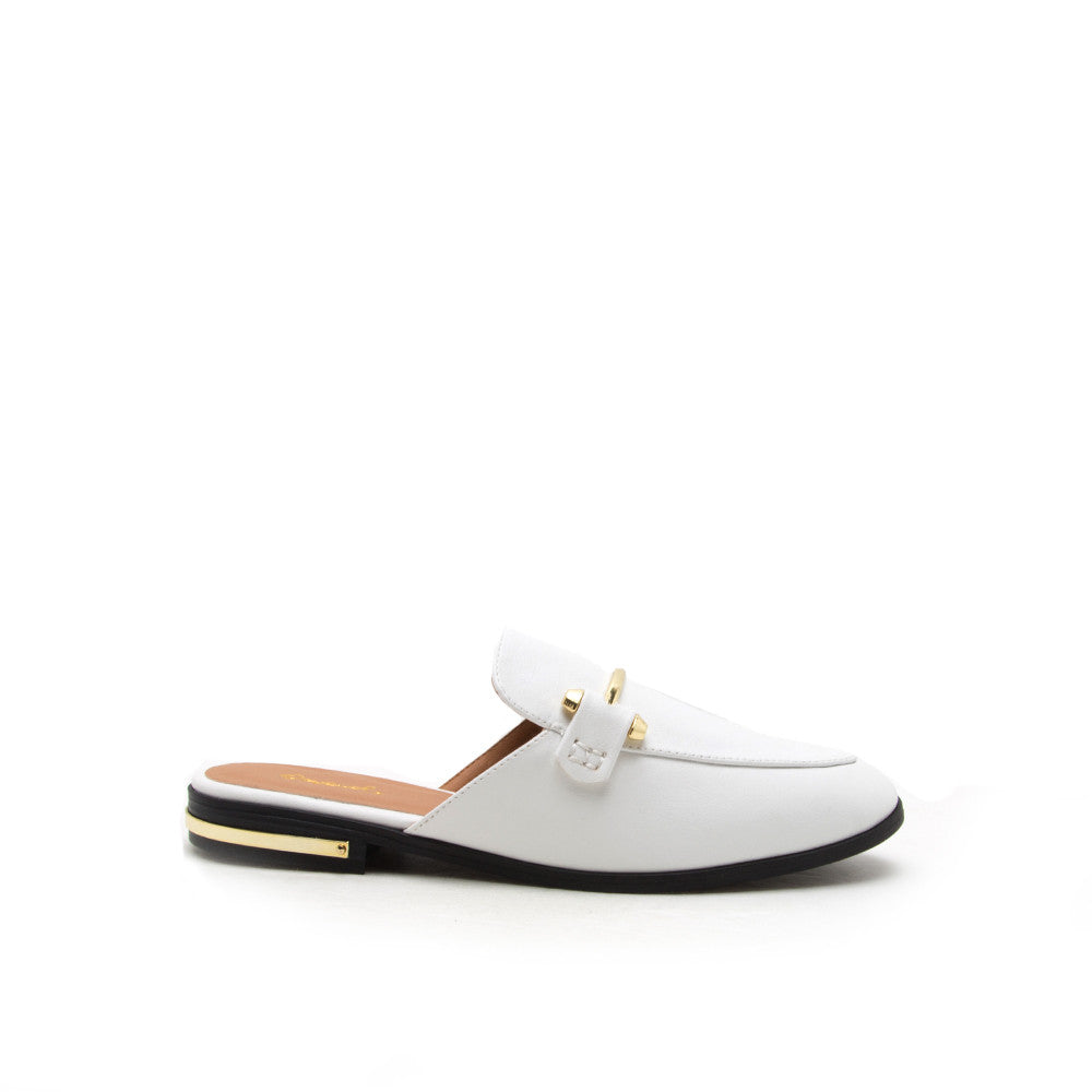 Malik-05 White Oxford Mule Loafer