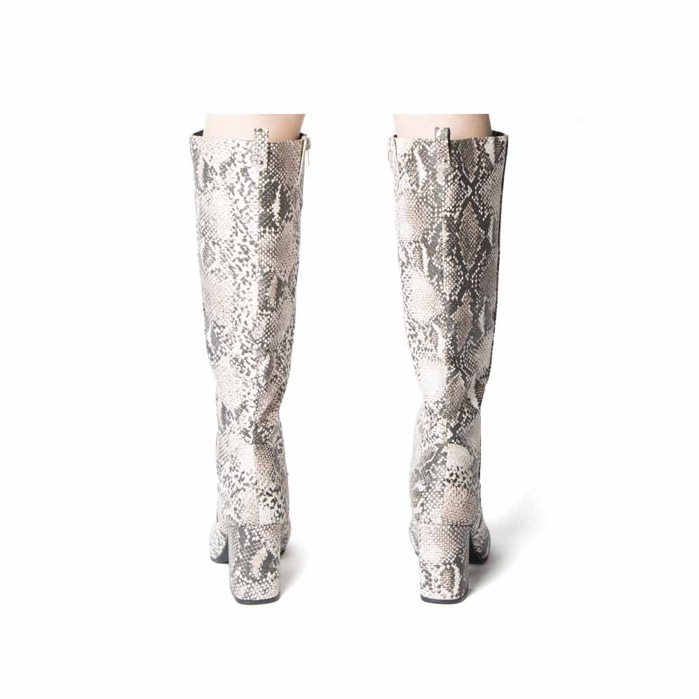 Malone-10 Beige Brown Snake Knee High Boots