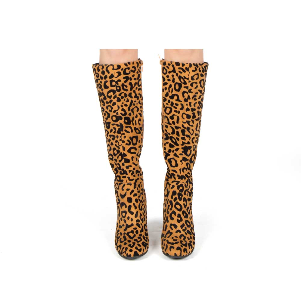 Malone-10 Camel Black Leopard Knee High Boots