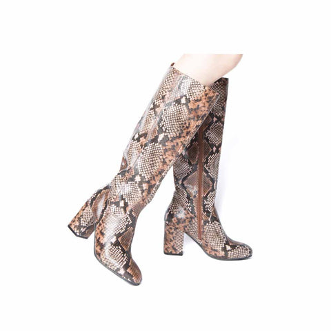 Malone-10 Light Brown Multi Snake Knee High Boots