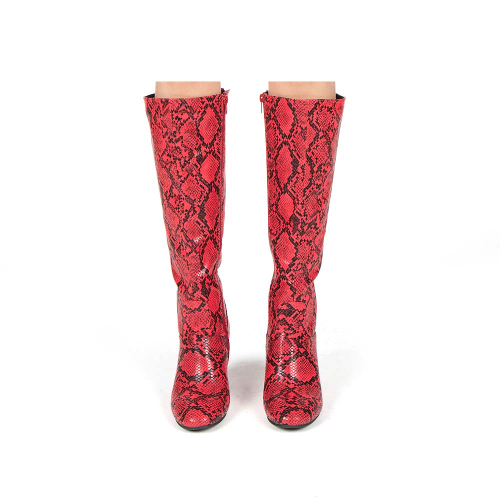 Malone-10 Red Black Snake Knee High Boots