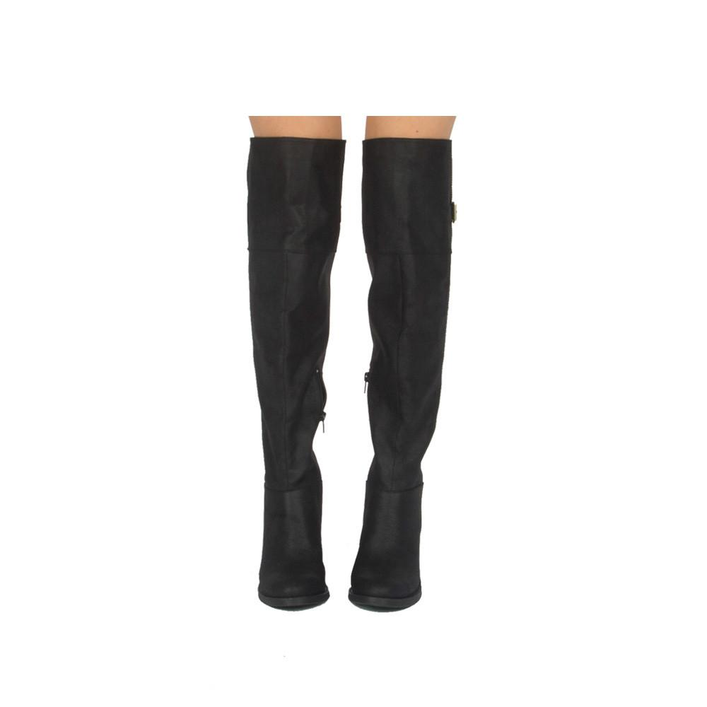 Marcel-09X Black Buckle Over The Knee Boot
