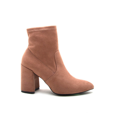 Mariko-06 Dark Blush Sock Bootie