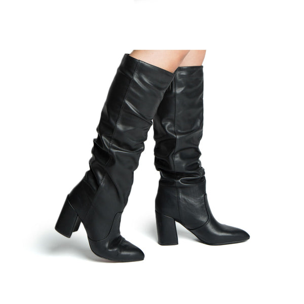Mariko-56 Black Stretched Slouchy Boots