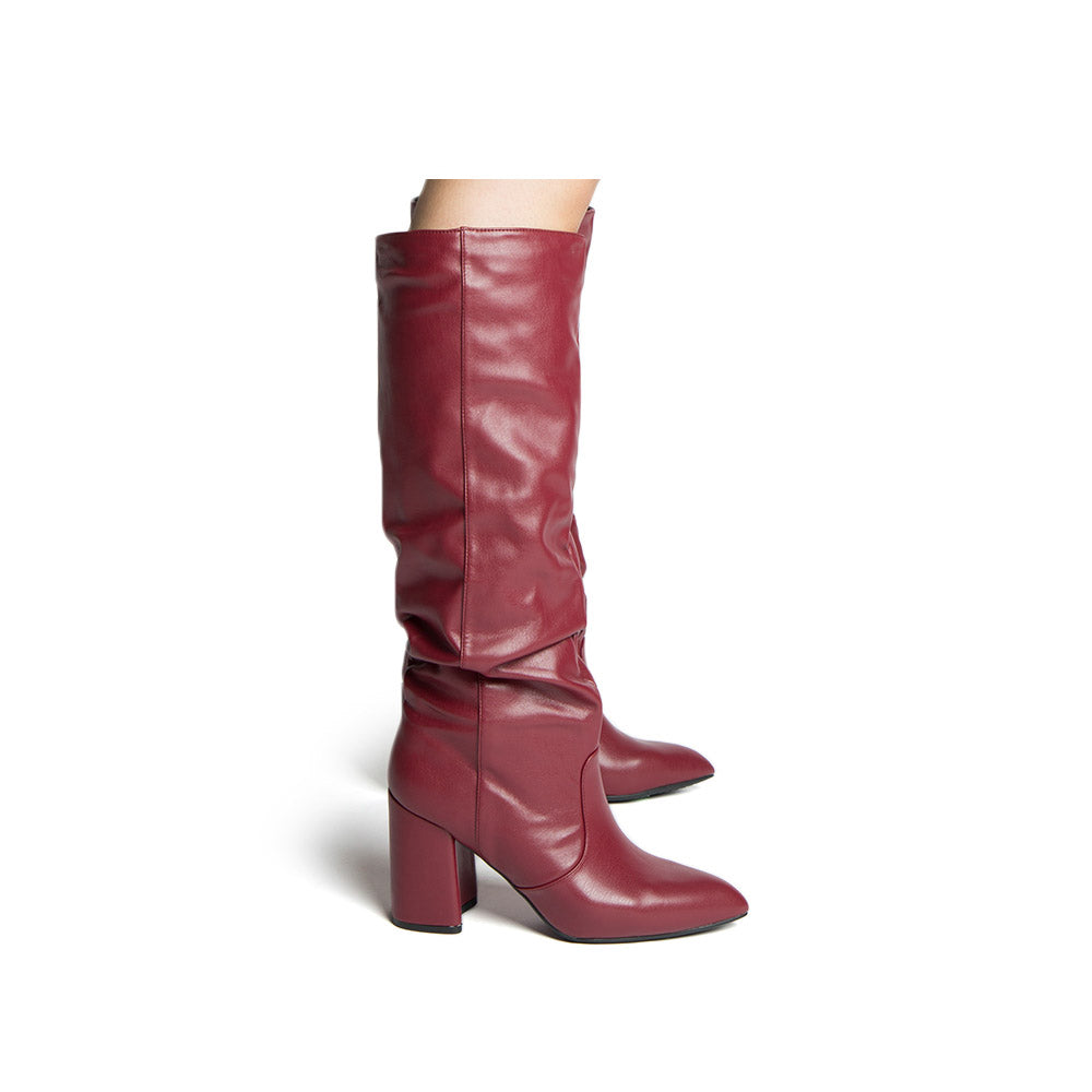 Mariko-56 Burgundy Stretched Slouchy Boots