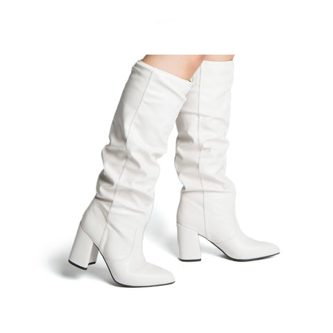 Mariko-56 Off White Stretched Slouchy Boots