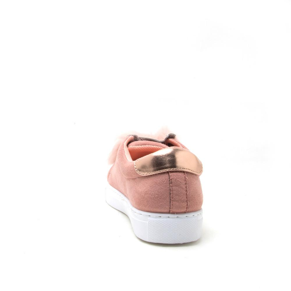 MARLOW-01 Blush Low Top Sneaker with Fur Insert
