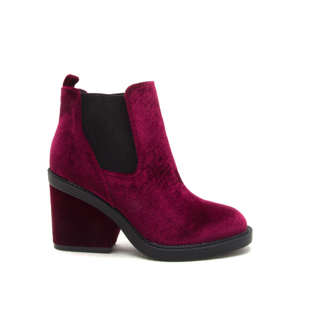 2019 best sell online here hot-selling fashion Marney-01 Burgundy Velvet Booties