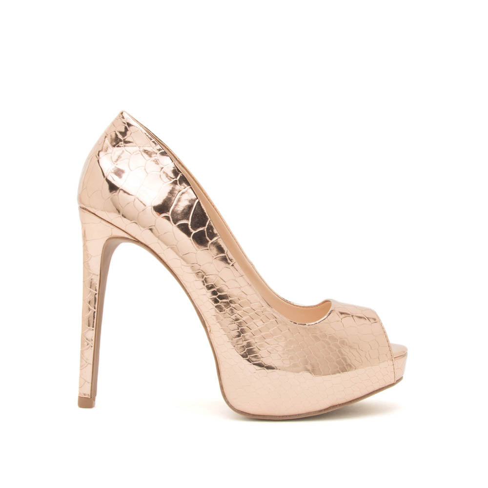Mask-04A Rose Gold Metallic Snake Peep Toe Pump