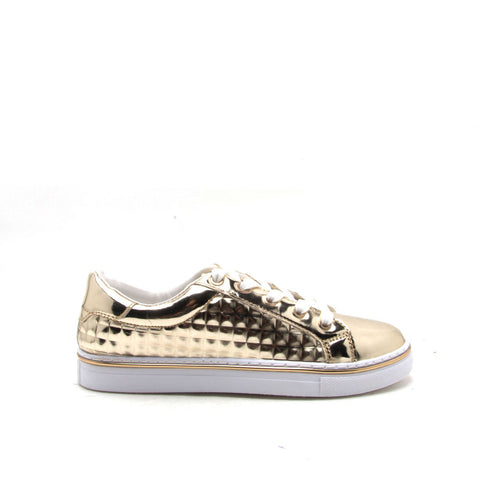 Matthew-03 Gold Studded Metallic Sneaker