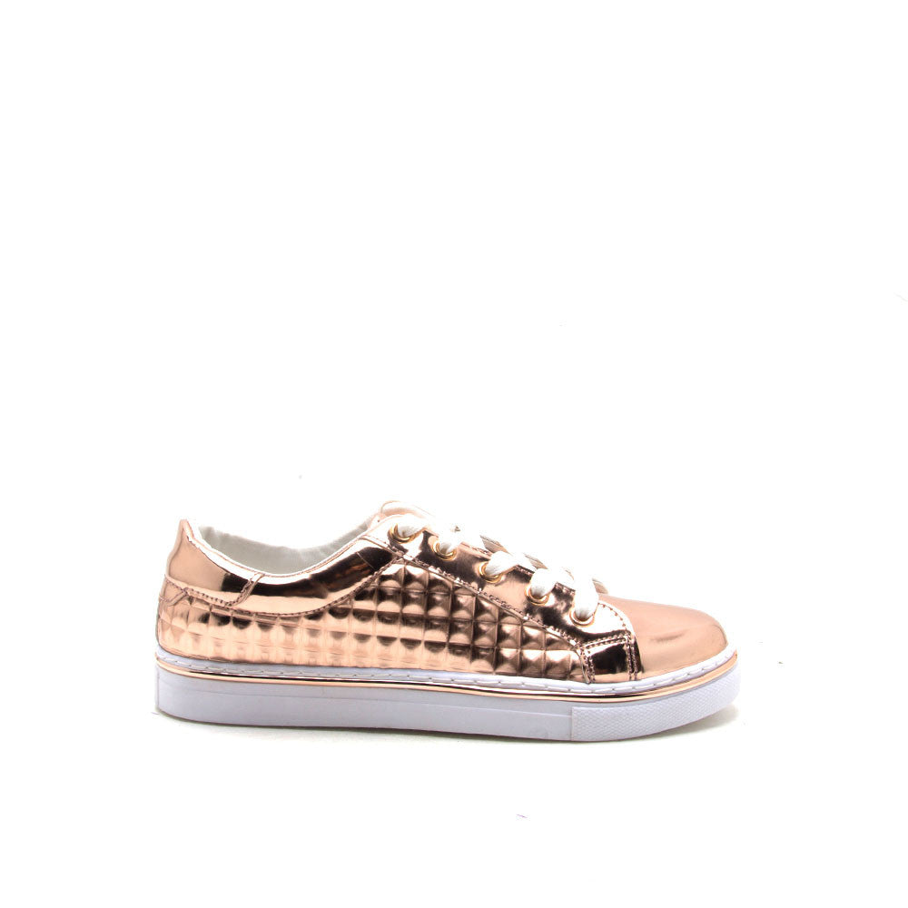 Matthew-03 Rose Gold Studded Metallic Sneaker