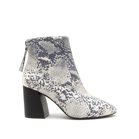 Metis-02B White Grey Snake Booties