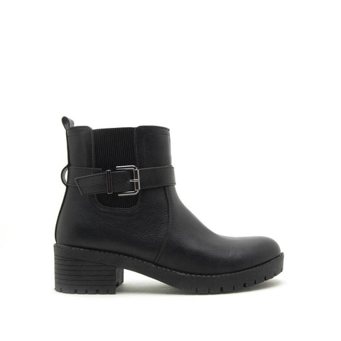 Michi-01 Black Single Buckle Booties