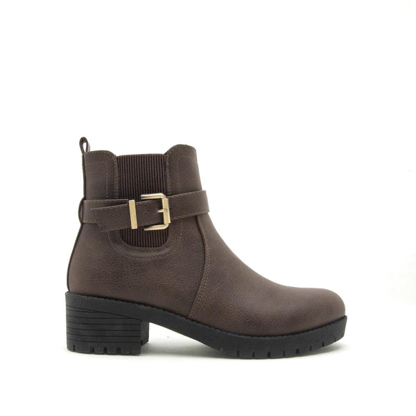 Michi-01 Taupe Single Buckle Booties
