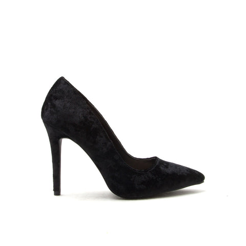 MILIA-01 Black Velvet Pointed Pump