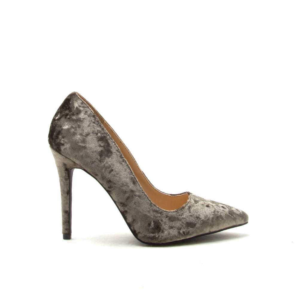 MILIA-01 Khaki Velvet Pointed Pump
