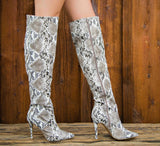 Milia-127X Black White Snake Over The Knee Pointed Boot